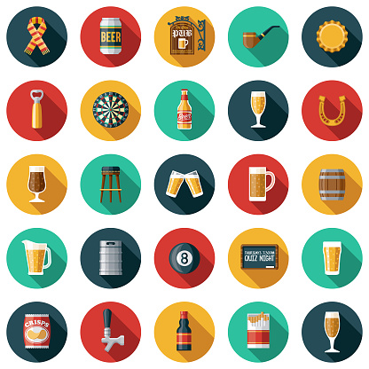 Old Fashioned Pub Icon Set