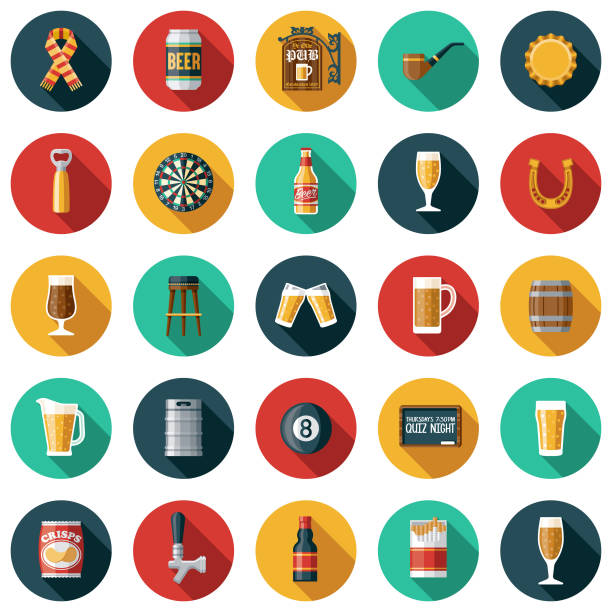 stockillustraties, clipart, cartoons en iconen met ouderwetse pub icon set - bierfles