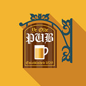 istock Old Fashioned Pub Sign Icon Set 1180285854