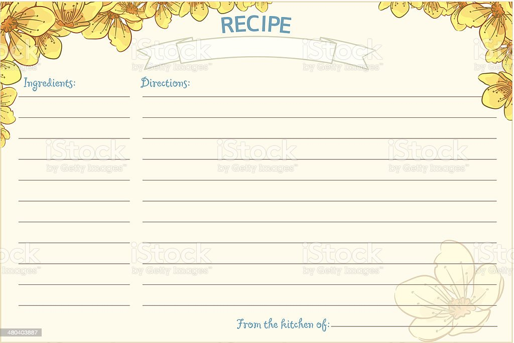 Old Fashioned Recipe Card Template - Floral vector art illustration