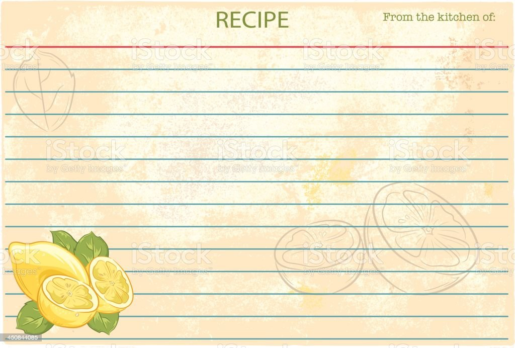 Old Fashioned Recipe Card Template - Lemons vector art illustration