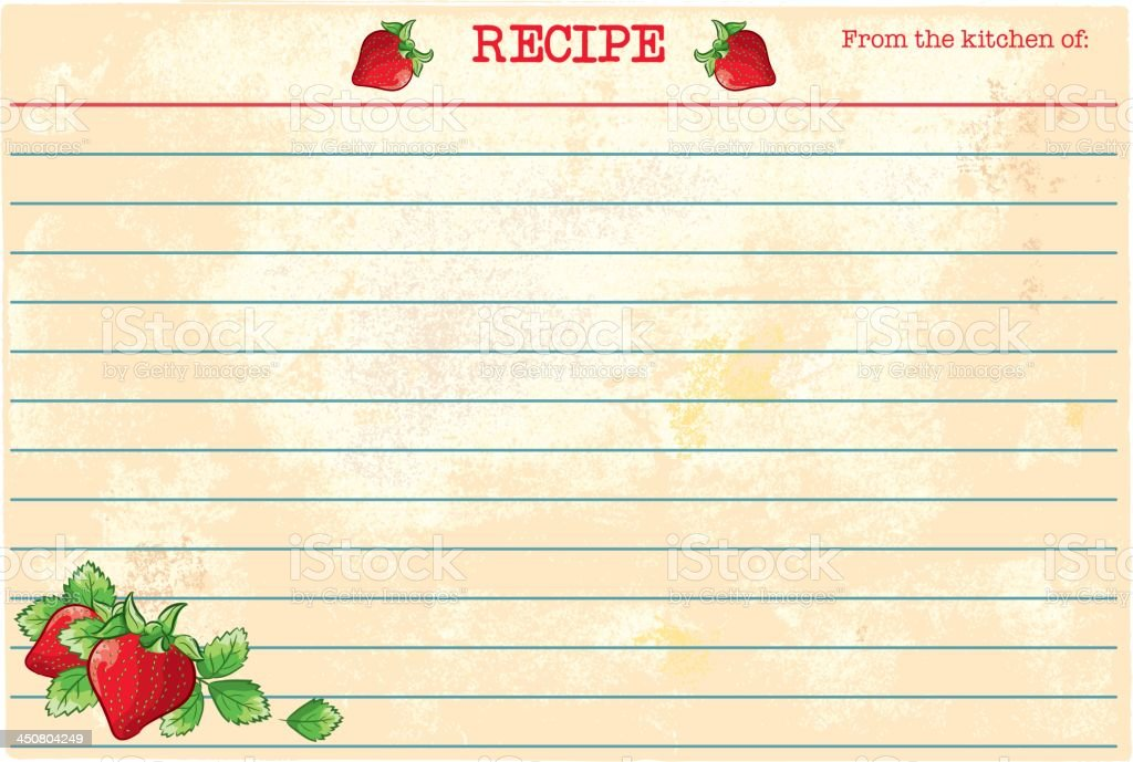 Old Fashioned Recipe Card Template - Strawberries vector art illustration