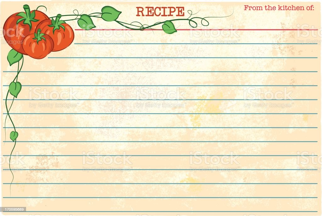 Old Fashioned Recipe Card Template - Tomatoes vector art illustration