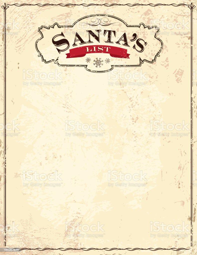 Old fashioned Santa's List vector art illustration