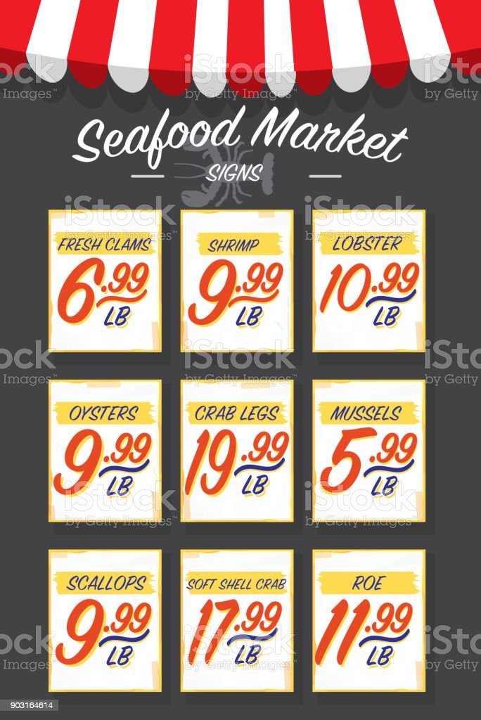 Old fashioned seafood market paper signs set vector art illustration