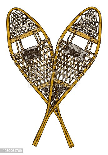 istock Old Fashioned Snowshoes 1280064789