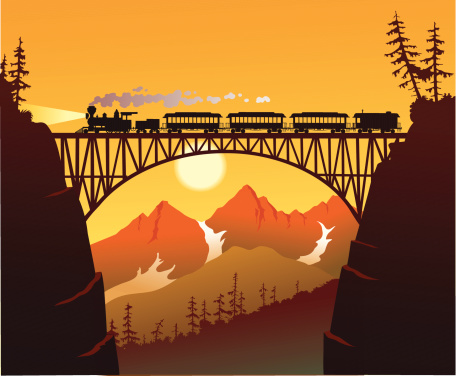 Silhouette illustration of an old steam train at the early morning light crossing a deep ravine.