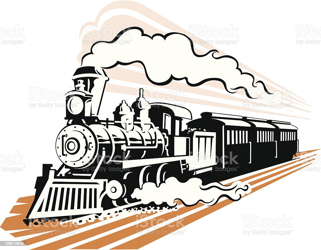 Old Fashioned Steam Train in Black and White vector art illustration