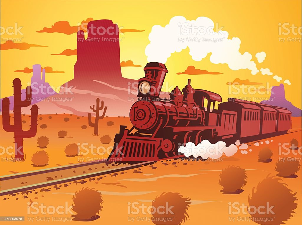 Old Fashioned Steam Train in the Desert royalty-free stock vector art