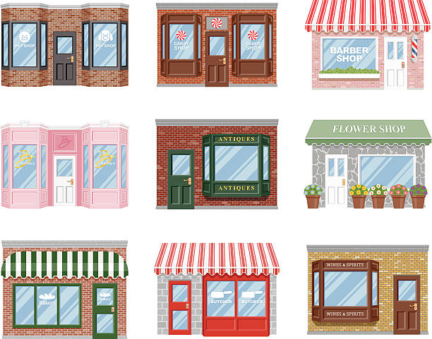 オールドファッションド storefront アイコンセット - パン屋点のイラスト素材/クリップアート素材/マンガ素材/アイコン素材