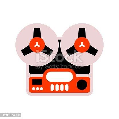 istock Old fashioned tape recorder vector illustration. Retro magnetophone icon. 1281074980