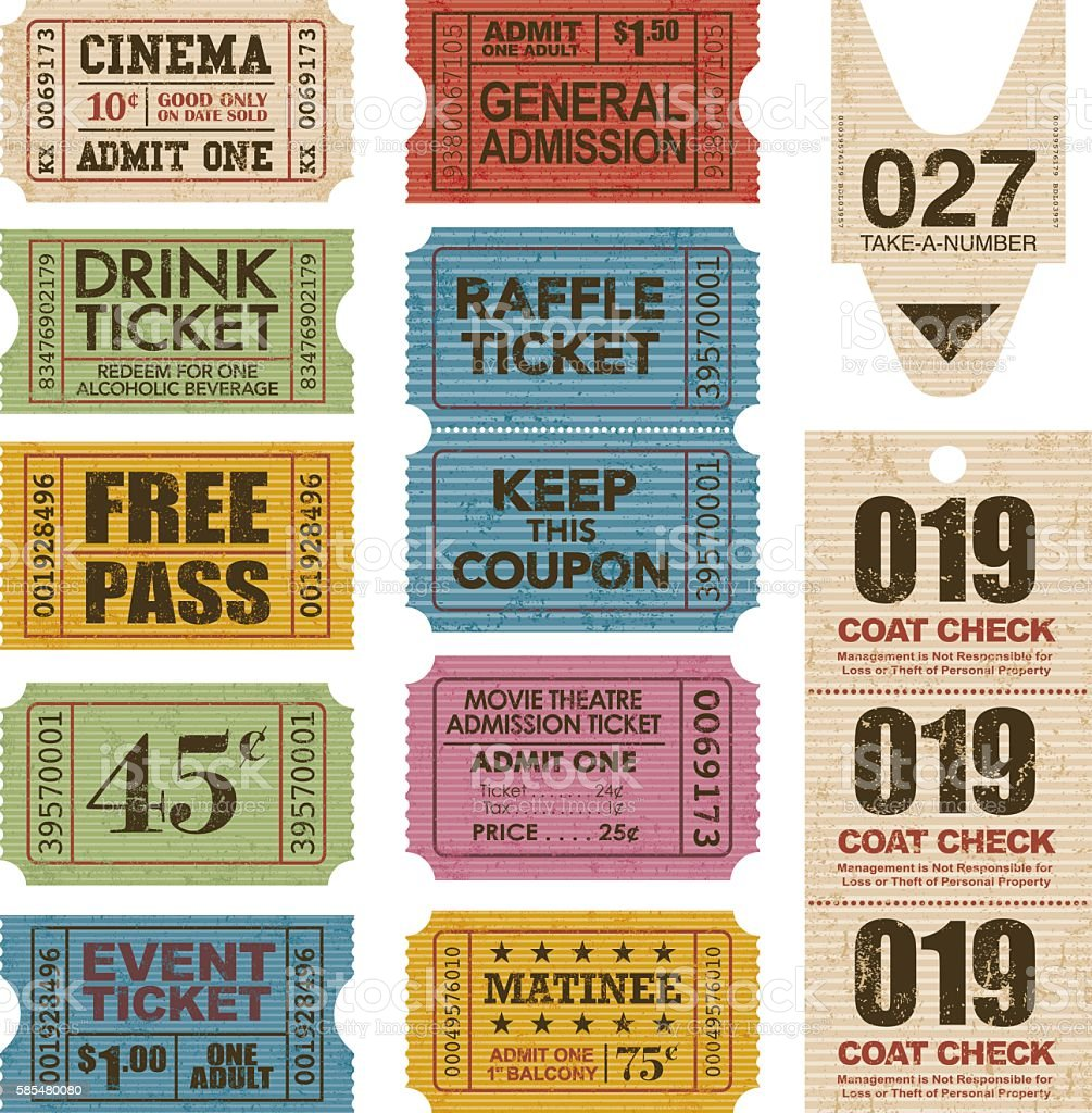 Old Fashioned Ticket Stub Icon Set vector art illustration
