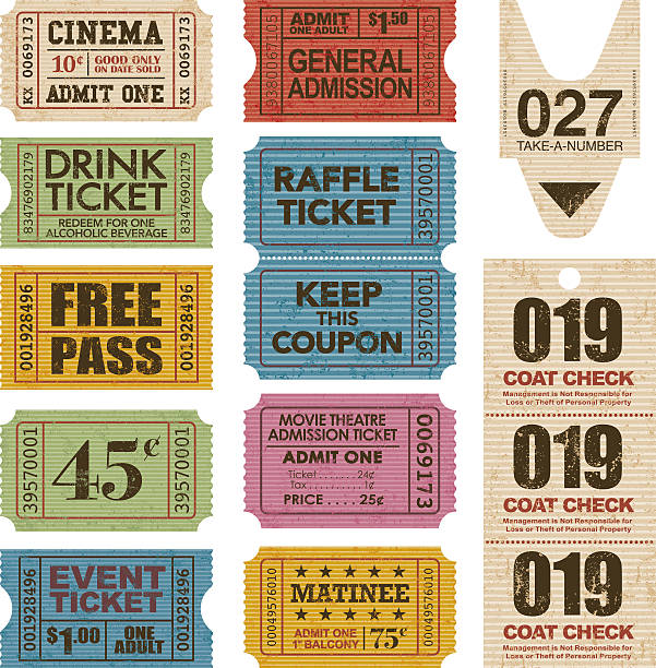 구식이다 티켓 스텁 아이콘 세트 - 티켓 스텁 stock illustrations