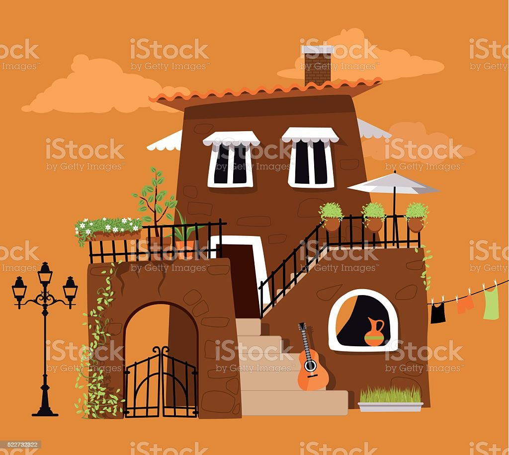 Old- fashioned villa vector art illustration