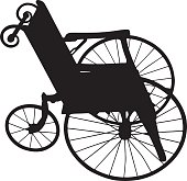 Old fashioned wheelchair silhouette