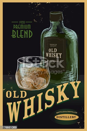 Vector illustration of a vintage Whiskey Advertisement poster. Some texture to appear worn. Whisky glass and bottle fully rendered on separate layers. Easy to edit with layers. Download includes Illustrator 10 eps, high resolution jpg and png file.