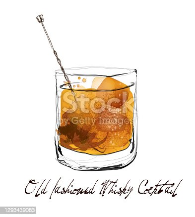 Old fashioned whisky cocktail in watercolor style