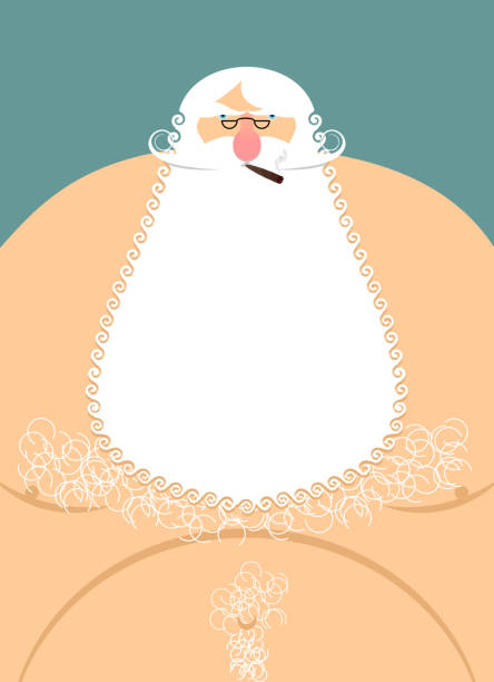 old fat bearded grandfather. hairy chest. santa claus naked. old - old man smiling backgrounds stock illustrations, clip art, cartoons, & icons