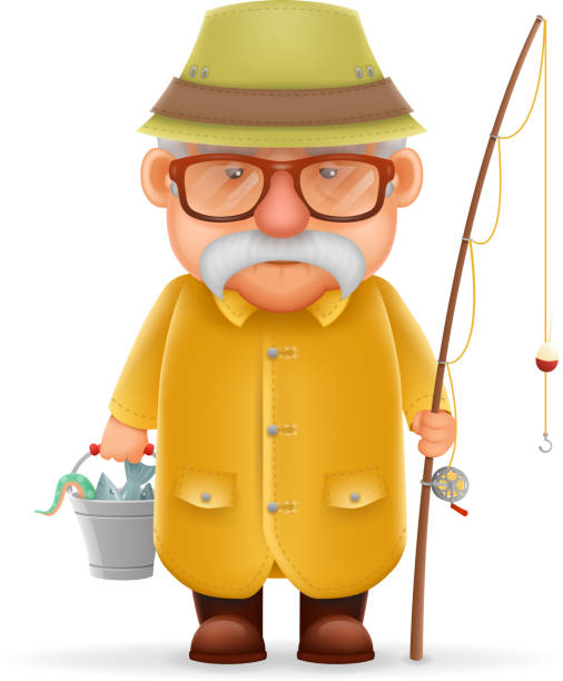 ilustrações de stock, clip art, desenhos animados e ícones de old fisherman grandfather 3d realistic cartoon character design isolated vector - fishman