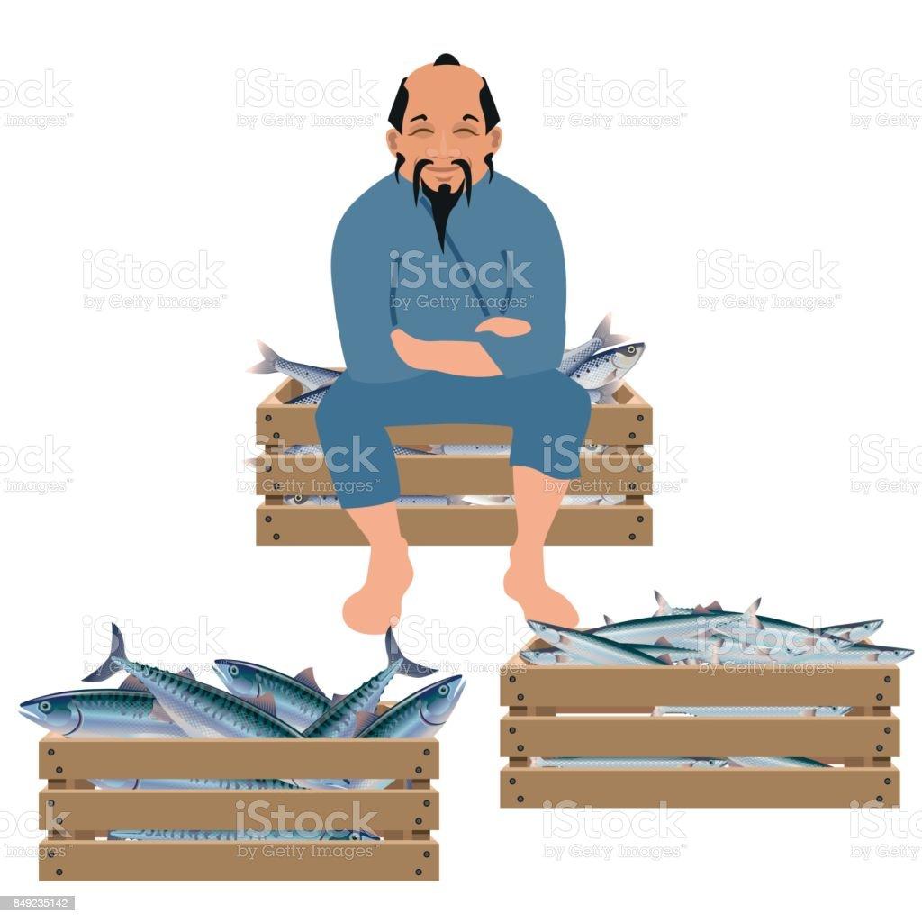 Old fisherman sells fish vector art illustration
