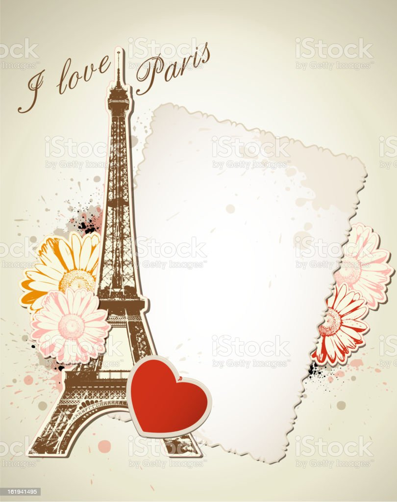 Old frame and  Eiffel tower royalty-free stock vector art