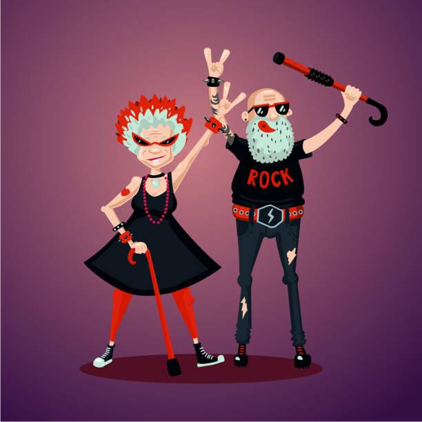 Old friedns. Senior adult couple. Rock fans. Humor illustration, cartoon characters vector art illustration