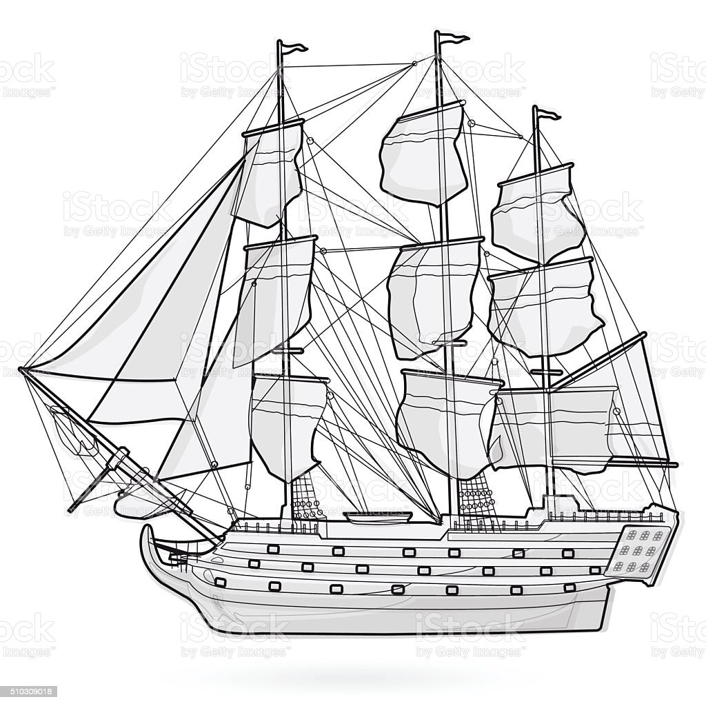 Old Galleon Corvette Wooden Historical Sailing Wire Boat Pirates Ship Royalty Free Stock Vector