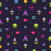 istock Old games seamless pattern. Retro gaming, pixels video game and pixel art arcade vector background illustration 1093600004