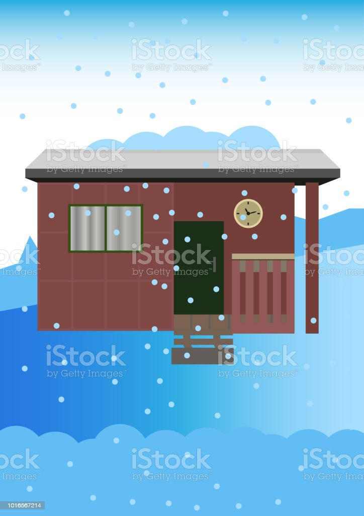 Old garden shed in the winter with a snowy landscape vector art illustration