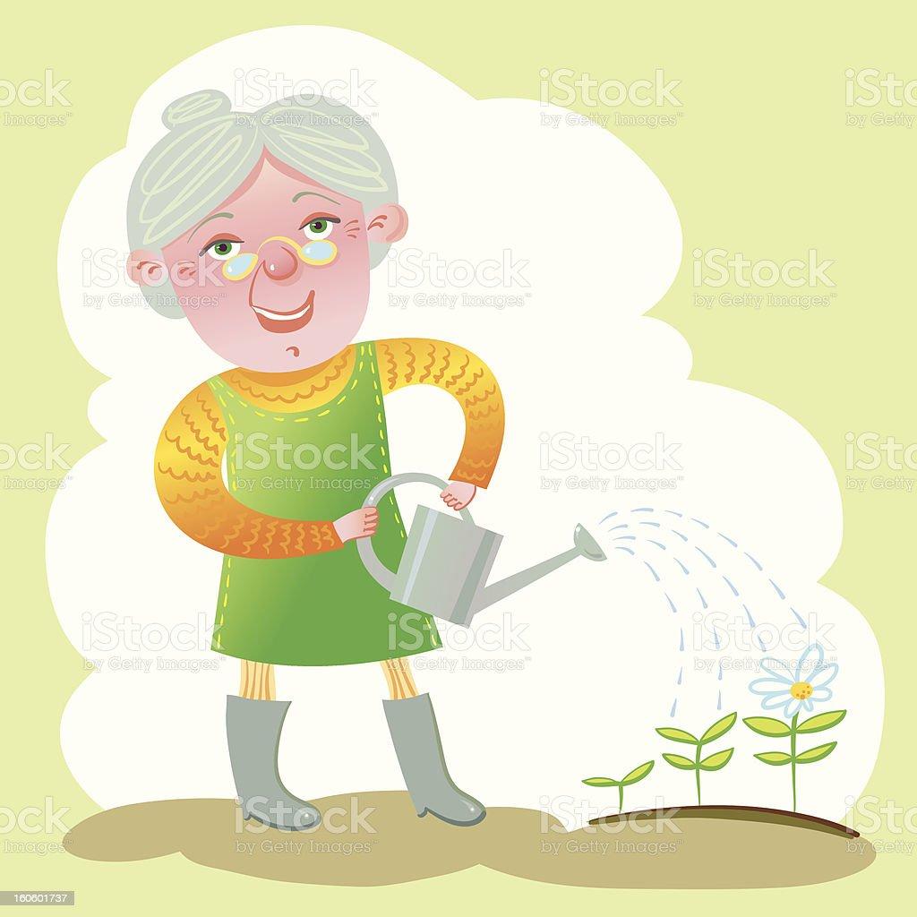 Old Gardener. royalty-free stock vector art