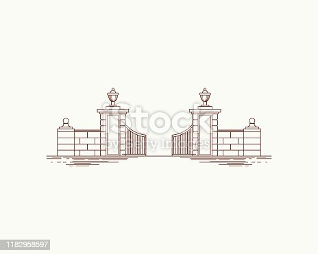 Old Gate in simple line drawing