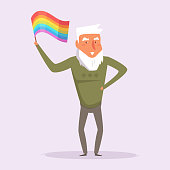 Old gay with flag LGBTQ