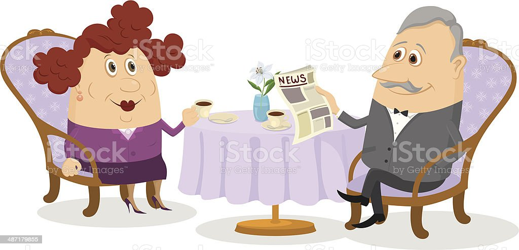 Old Gentleman and lady drinking coffee royalty-free stock vector art