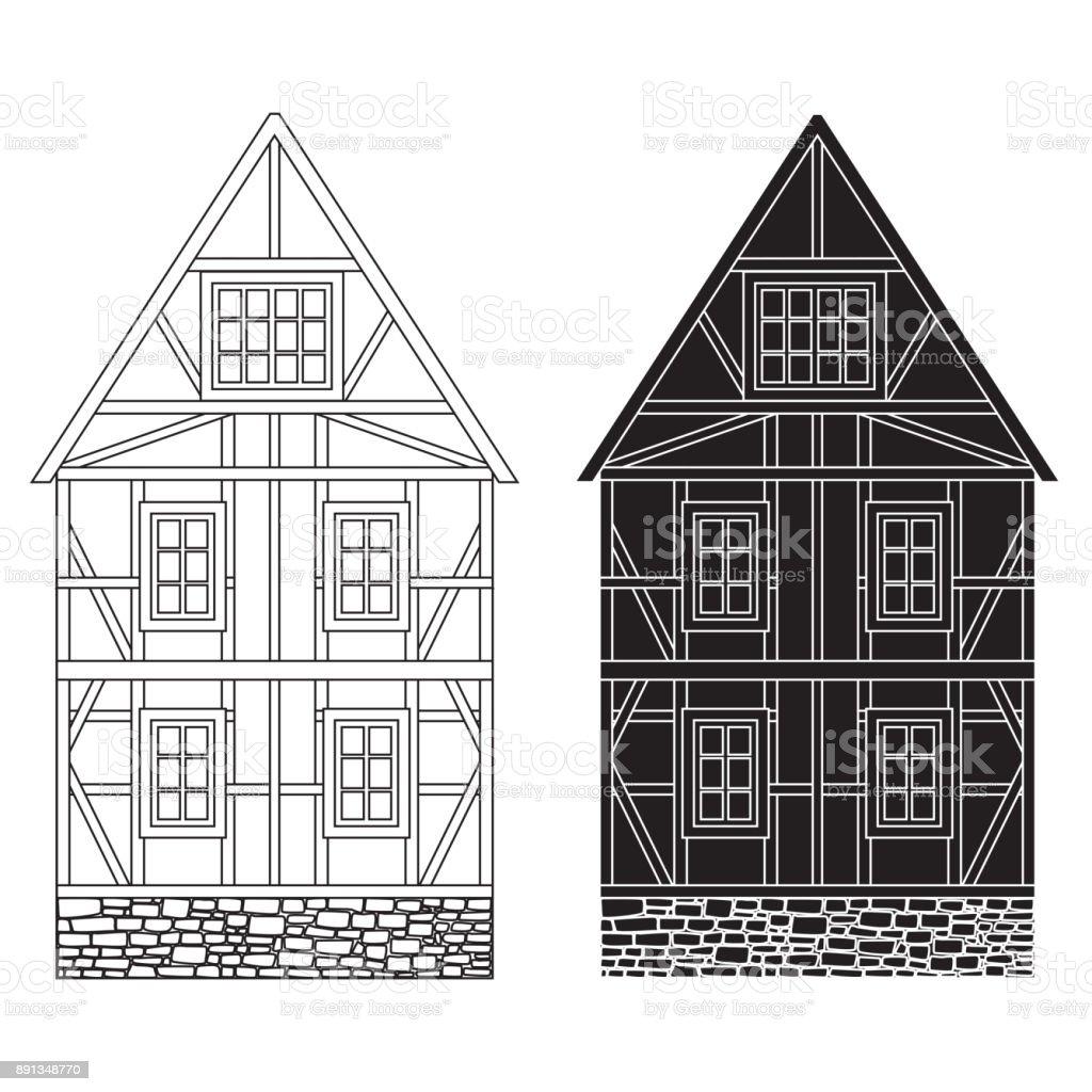 Vieille Maison Allemande Avec Poutres En Bois. Esquisse De Dessin Vieille  Maison Allemande Avec Poutres