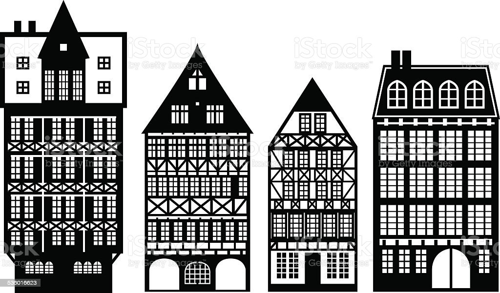 Old German houses set vector art illustration