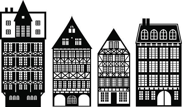 stockillustraties, clipart, cartoons en iconen met old german houses set - vakwerk