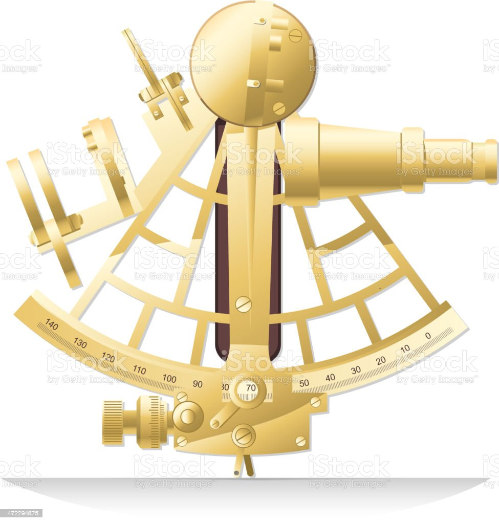 Old golden brass sextant old-fashion Sailing Instrument royalty-free stock vector art