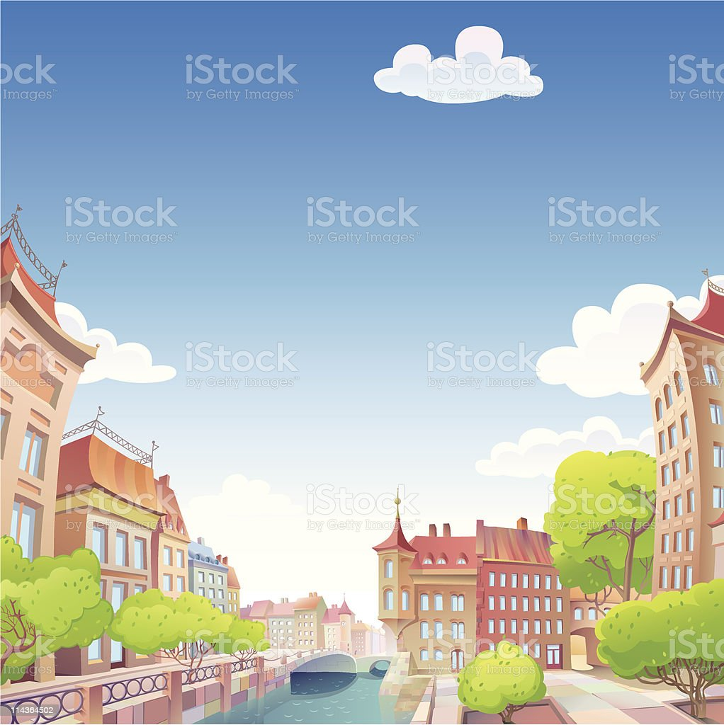 Old good European city vector art illustration
