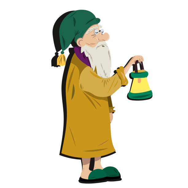 old grandfather comes with a lantern in his hands - old man sleeping drawing stock illustrations, clip art, cartoons, & icons