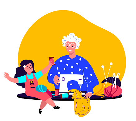 Old Grandmother,Granny Seamstress,Creating Clothes on Sewing Machine with Grandchild,Girl Kid.Family Together. Needlewoman Sewing in Workshop.Holidays with Old Aged Pensioner. Flat Vector Illustration