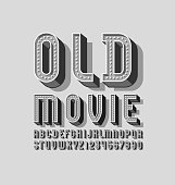 3D old gray font, retro volumetric alphabet, condensed letters and numbers with light bulbs, vector illustration 10eps