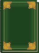 Old green book Koran. Holy Quran. Closed book golden lining