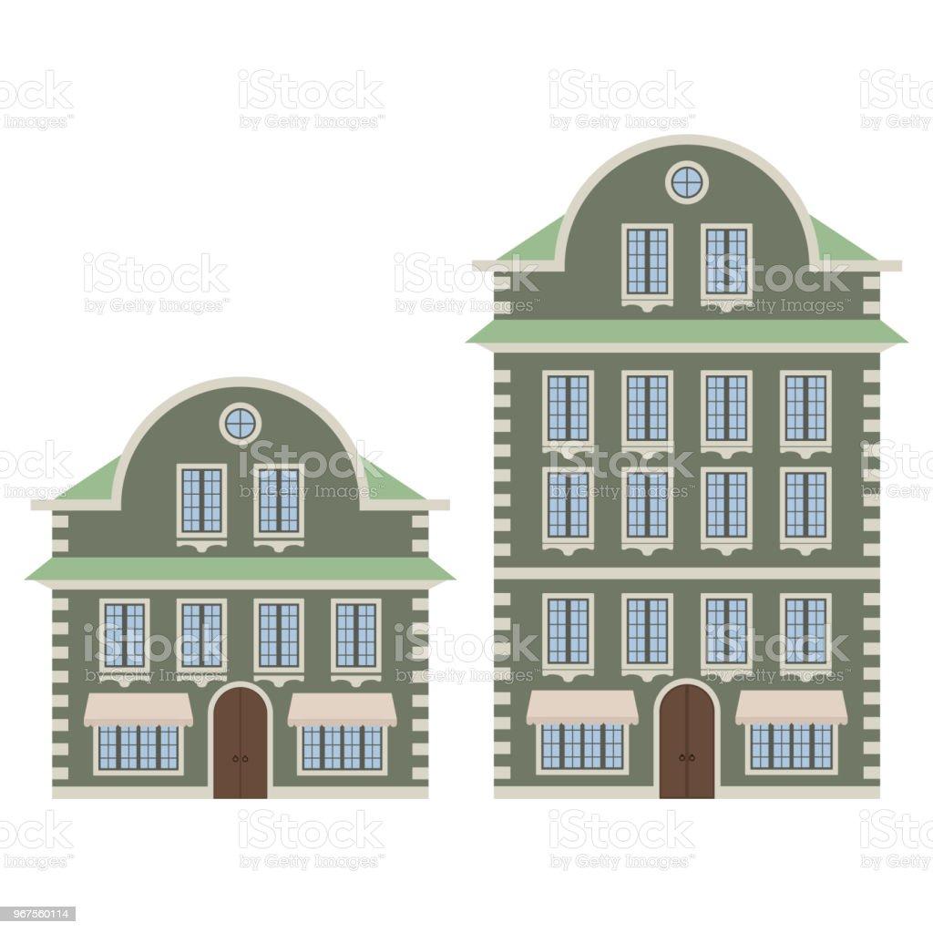 Maison ancienne de ville européenne verte esquisse de dessin maison ancienne de ville européenne verte