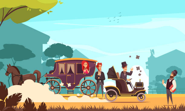 old ground transportation illustration Human characters and old ground transportation horse carriage and ancient car on combustion engine cartoon vector illustration 20th century history stock illustrations