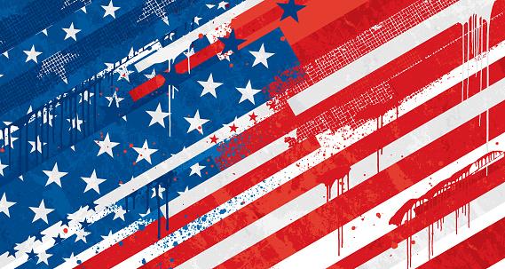 Old Grunge graffiti United States vector flag