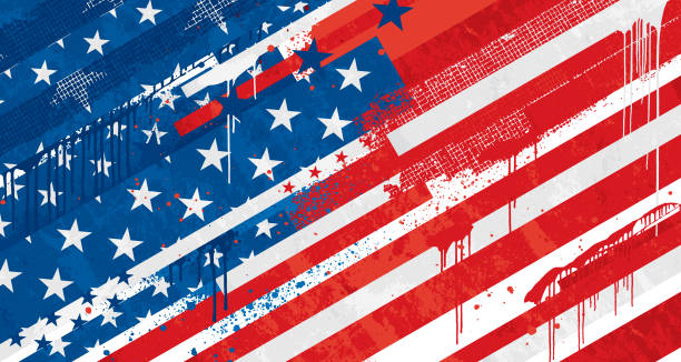 USA old Grunge flag Old Grunge graffiti United States vector flag distressed american flag stock illustrations