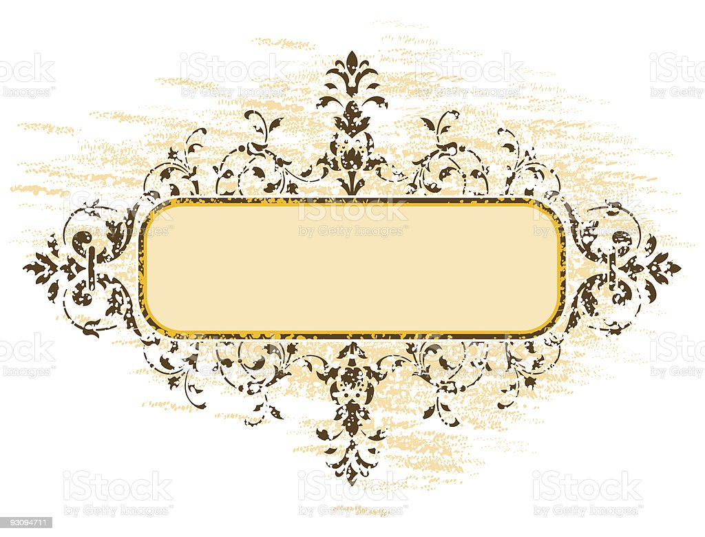 old grunge frame with floral decoration, vector illustration royalty-free old grunge frame with floral decoration vector illustration stock vector art & more images of abstract