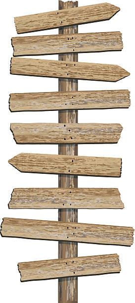 stockillustraties, clipart, cartoons en iconen met old grungy woodgrain textured directional sign with multiple planks - wegwijzer bord