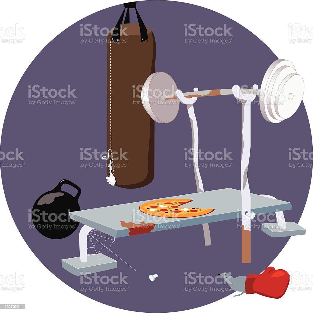 Old gym vector art illustration