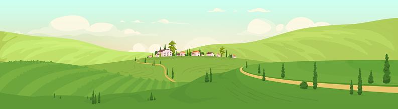 Old hilltop village flat color vector illustration